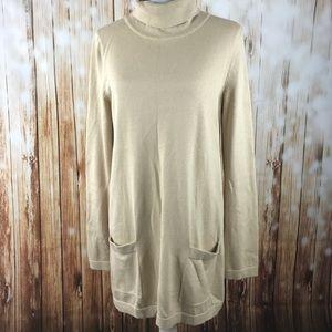 Tan Talbots Sweater scrunch neck TunicMedium