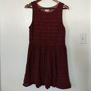 Maison Jules Burgandy Eyelet Dress FALL DRESS!