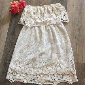 Ivory Crochet Strapless Dress