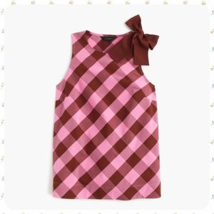 J. Crew Bow-Shoulder Top in Oversized Gingham