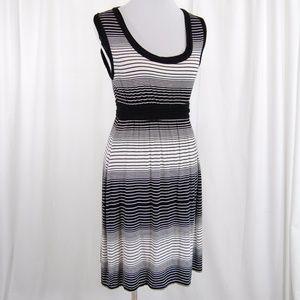 Black and White Stripe Sleeveless Dress