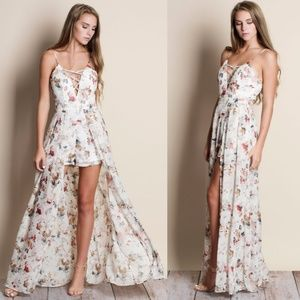 Lace Up Floral Maxi Romper