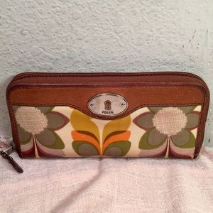 Fossil Keyper Coated Canvas Maddox Floral Wallet