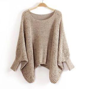 Sweaters - Beige bat-wing sweater