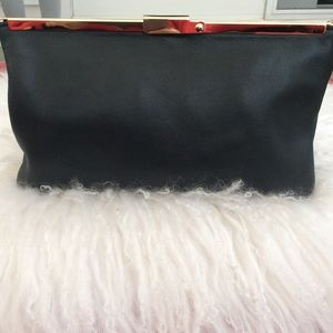 J. Crew black leather clutch new with tags