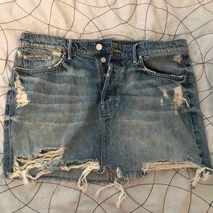MOTHER distressed denim skirt