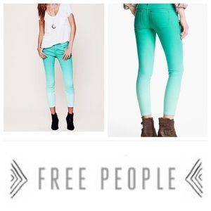 FREE PEOPLE green ombré cropped skinny jeans 28