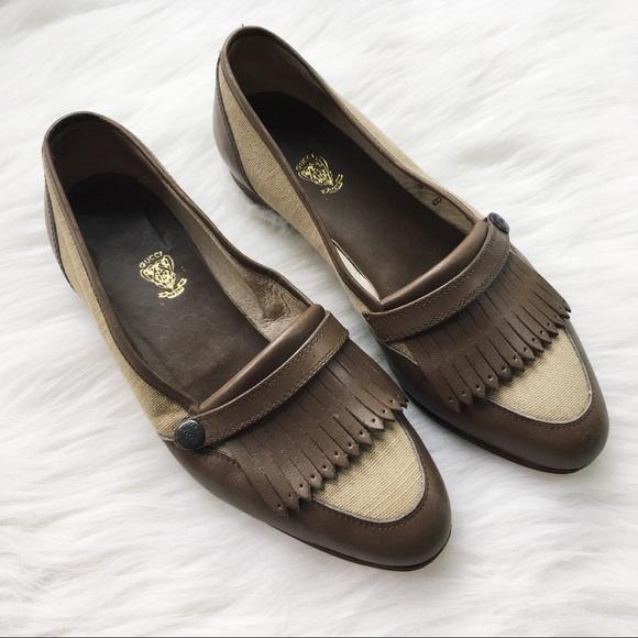 9960813e595 SALE Vintage Kiltie Taupe Leather Logo Loafer