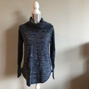 Blue & Gray Loose Turtleneck Sweater