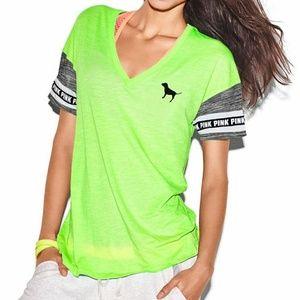 PINK Victorias Secret Neon Green Boyfriend T-shirt