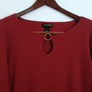 Lane Bryant Red Ribbed Knit Key Hole Neck Sweater