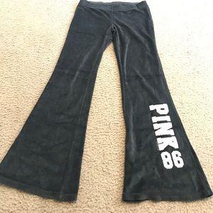 VS PINK black velour pants sz S