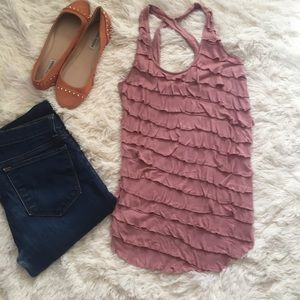 Urban Outfitters Mauve Ruffle tank Small