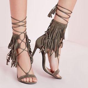 Khaki Olive Missguided Lace Up Wrap Fringe Heels