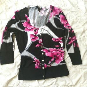 WHBM black and pink floral cardigan