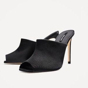 Zara Satin High Heel Mule (NWT)