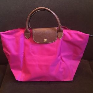 LongChamp Small Fuchsia Leather Handle Bag!