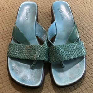 Size 10 Turquoise Clarks Sandals