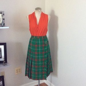 Vintage Pleated Wool Wrap Skirt