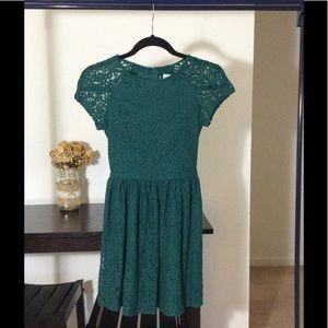 H&M dark green mini lace dress