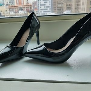 Zara Patent Leather Heels with gold strip