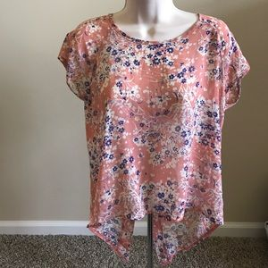Floral Sheer Top with Button on Back