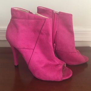 Pink Suede Peep Toe Booties
