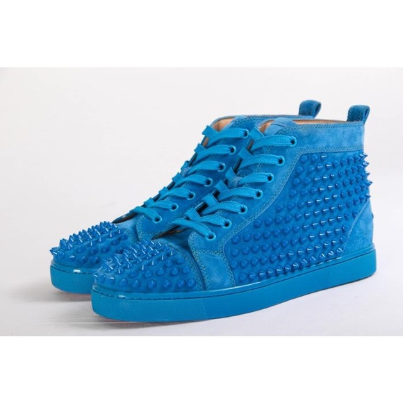 baby blue louboutin trainers
