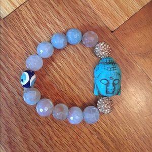 Blue and gold handmade Buddha bracelet