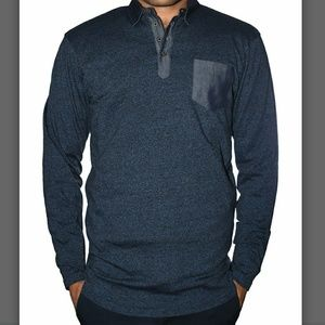 Other - COMING SOON! Navy Marled Polo Sweater
