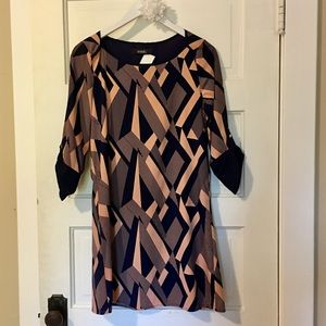 Navy and Light Peach Geometric Dress