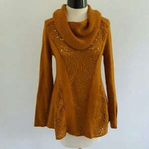 ANTHRO {ANGEL OF THE NORTH} cowl neck sweater