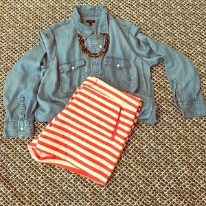 Pants - Red/Ivory Stripe Tab Front Shorts