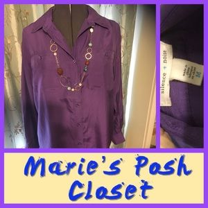 Bright Purple 💯% Silk Blouse