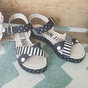 Sam & Libby black white dot stripe sandals Size 6