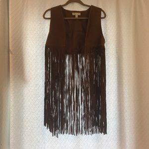 Urban Outfitters leather long fringe vest