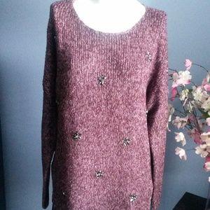 Jessica Simpson Embellished Burgundy sweater