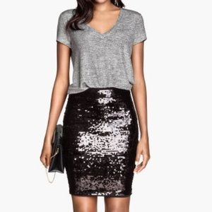 H&M Sequins Pencil Skirt
