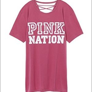 VS PINK NATION STRAPPY BACK CAMPUS TEE