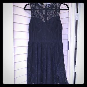 Express -Lace-skater-dress-black