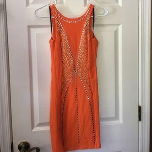 Orange bebe mini dress