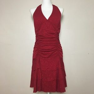 La Belle Salsa-Inspired Red Sparkling Knee-L Dress