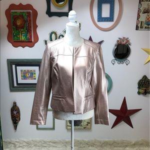 CHICOS Women's Metallic Pink Vegan Leather Jacket