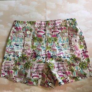 J.Crew linen sailor front printed shorts
