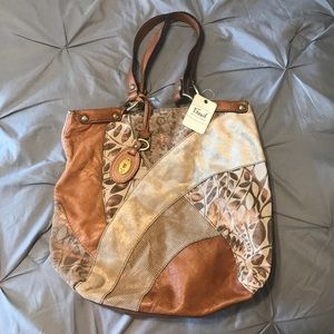 Fossil shoulder purse, leather and suede