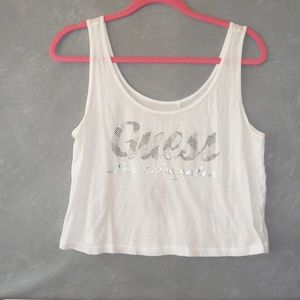 Guess Cropped white Tank Top