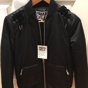 NEW Pam & Gela black bomber jacket size S