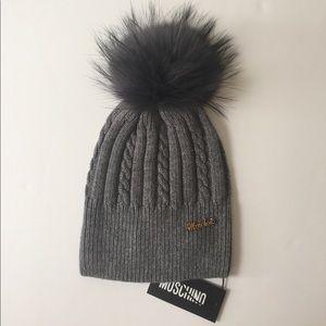 Moschino Wool Beanie w/Raccoon Fur Pom Grey NWT
