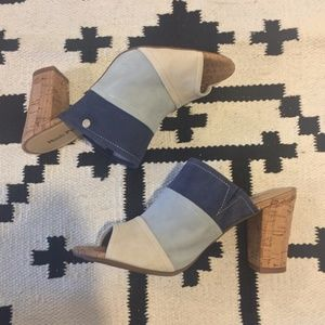 Hush Puppies blue stripe cork heeled slip on