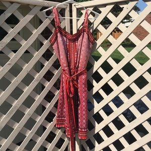 Red and Peach Patterned Dress